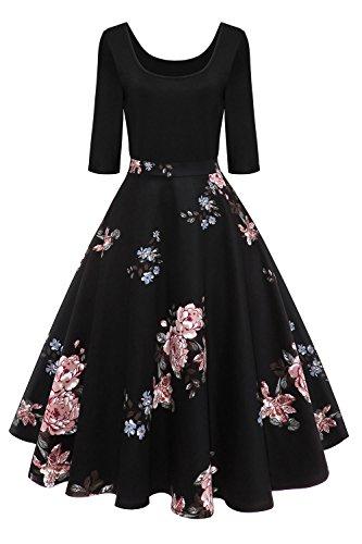Axoe Damen A-Linie Kleid 60er Jahre Rockabilly mit Blumenrock 3/4 Ärmel Gr.36, Farbe 4, L (42 EU)