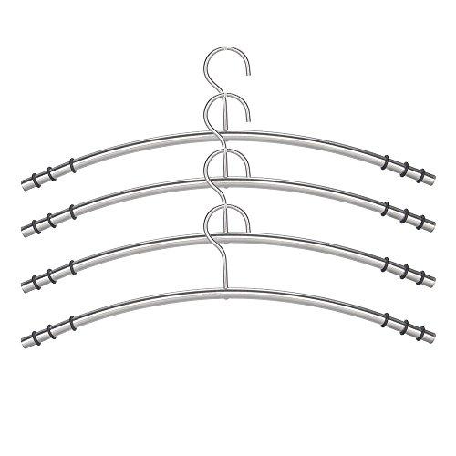 JUEYAN 12X Kleiderbügel Garderobenbügel Edelstahl Silber Garderobenbügel Metall Rostfrei Anti-Rutsch -