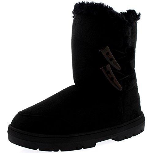 Damen Schuhe Twin Toggle Fell Schnee Regen Stiefel Winter Fur Boots Schwarz
