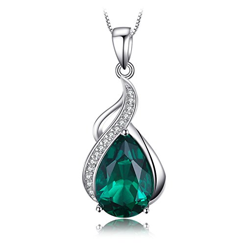 JewelryPalace 2.7ct Simulierte Grün Nano Russische Smaragd Anhänger Halsketten 925 Sterling Silber Kette 18 Zoll (18 Silber-kette In)