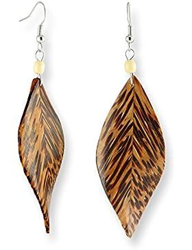 ISLAND PIERCINGS Ohrringe Blatt aus Kokos Holz Handarbeit ER279