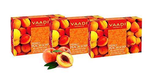 Value Pack von 3 PERKY Pfirsich-Seife mit Mandelöl - alle natürlichen - frei von Paraben - sulfatfrei - Unisex - gut für alle Hauttypen - (3 x 75 g) -