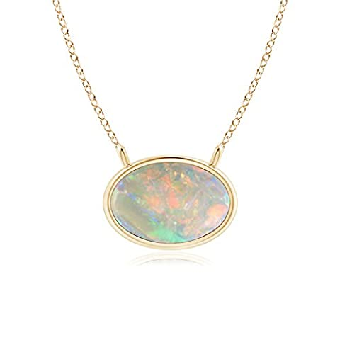 East West Opal Solitaire Necklace in 14K Yellow Gold (6x4mm Opal)