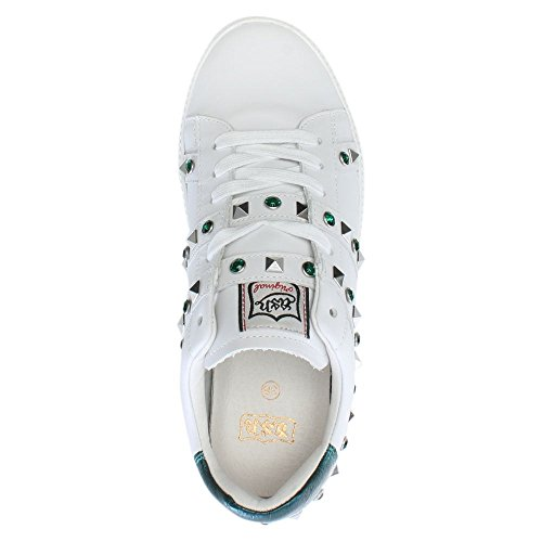 Ash Clone Emerald & White Leather Chunky Sneakers navy leather