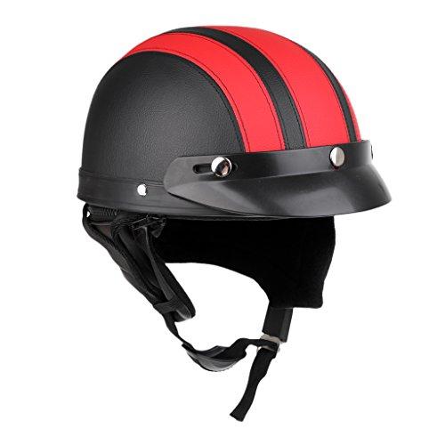 MagiDeal Jethelm Motorrad Fahrrad Halbschalen Helm mit Visier & verstellbarem Kinnriemen - Schwarz Rot