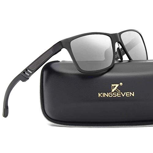 Kingseven Carbon Sonnenbrille Rechteckig UV400 Polarisiert HD Vision Outdoor Sommer Sport Ski Auto (Schwarz, Silber)