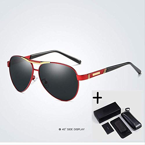 LKVNHP Fashion Brand Herren Polarized Alloy Sonnenbrille Herren Driving Shield Eyewear SonnenbrilleRot