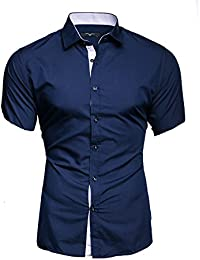 KAYHAN Homme Chemise Slim Fit Repassage facile, Manches courte Modell - Florida