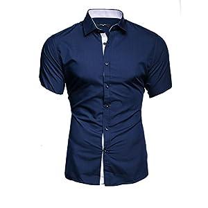 Kayhan Florida Maimi Herren-Hemd Slim-Fit Kurzarm-Hemden S-6XL