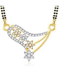 VK Jewels Dazzling Stars Gold And Rhodium Plated Alloy Mangalsutra For Women Made With Cubic Zirconia   -MP1078G...