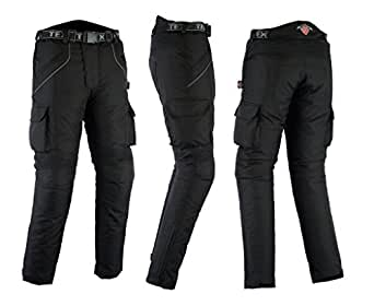 All Black Waterproof Armoured Motorcycle / Motorbike Trousers All Sizes