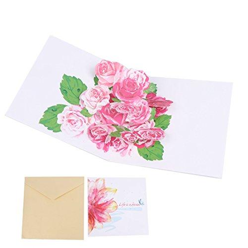 Baby-geschenk-karte Neue (kofun-Grußkarte mit Umschlag, 3D Blumen Pop Up Grußkarte Frohe Weihnachten Geburtstag New Year Einladung Creative Papier Karten handgefertigt Craft Valentines Party Baby Dusche Geschenk)
