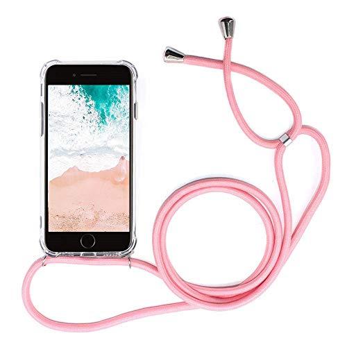 Funda para Xiaomi Mi Mix 2S con Cuerda, Xiaomi Mi Mix 2S Carcasa Transparente TPU Suave Silicona Case con Correa Colgante Ajustable Collar Correa de Cuello Cadena Cordón Anti-Choque, Rosa