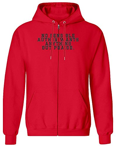 No Sensible Author Zipper Hoodie for Men - 100% Soft Cotton - High Quality DTG Printing - Custom Printed Mens Clothing