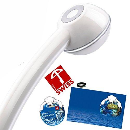 Duschkopf CHIC + WOW! Mehr Druck beim Duschen mit Durchlauferhitzer oder im 4. Stock. Handbrause druckaufbauend, verkalkungsfrei, wassersparend, Schweizer Produktion (ohne Softspray-Aufsatz+ohne Zusatzregler wie bei anderen Modellen dieser Handbrause)