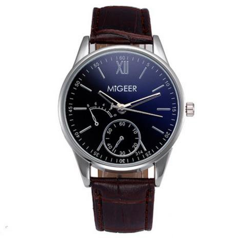 Souarts Herren Armbanduhr Einfaches Design Geschäfts Casual Quarz Uhr mit Batterie Braun Band Schwarz Zifferblatt