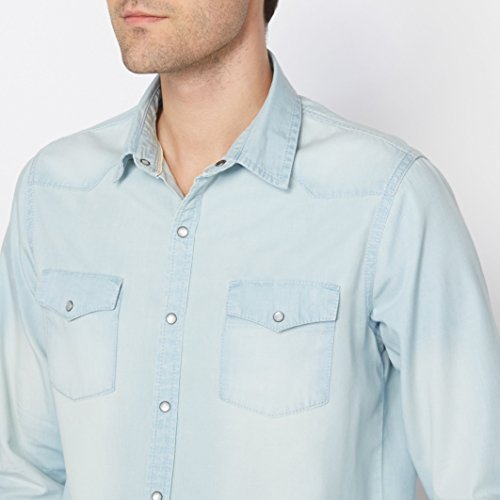Soft Grey Uomo Camicia In Denim Taglio Regular Con Maniche Lunghe Bleached