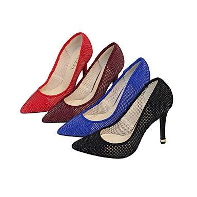 Moda Donna Sandali Sexy donna tacchi Primavera / Autunno T-Cinturino Tessuto / Matrimoni Party & sera abito / Stiletto Heel altri nero / blu / rosso Red