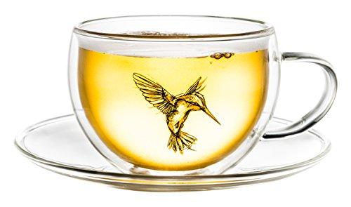 Creano thermique Tasse de thé/latte macchiato Tasse à double paroi Hummi Colibri avec soucoupe 250 ml dans boîte cadeau haut de gamme, Verre, vert, 2 éléments