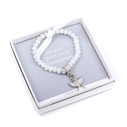 Holy Communion Angel bracelet (childsize), Gift featuring a pewter Angel bracelet in smart white box