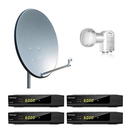 Opticum 4 Teilnehmer Komplettanlage HD AX 300 - 80cm Antenne anthrazit (TÜV zertifiziert)