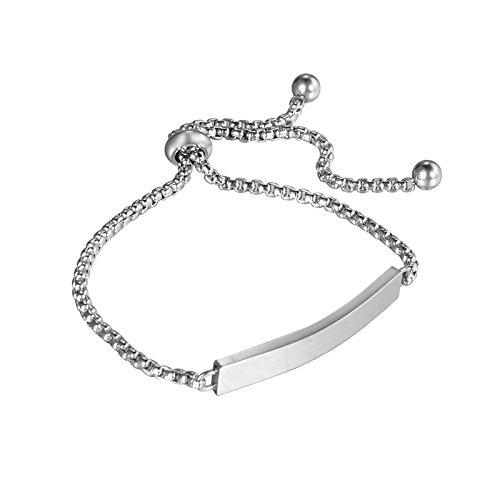 HooAMI Bracelet Chaîne Femme Fille Gravure Personnalisé Prénom De Famille Amoureux Amis Cadeau Unique pour Fête Anniversaire Mariage avec Service De Gravure Gratuit