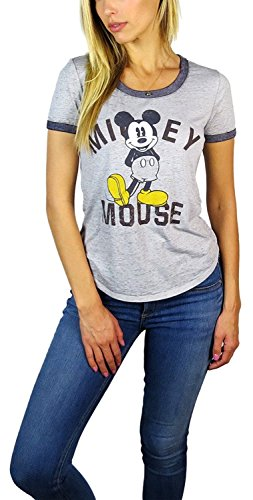Disney Mickey Mouse & Squad Burnout Ringer Tee (X-Large, Heather Grey Mickey) (Ringer Damen Heather)