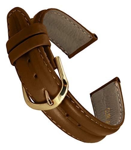 Correa de Reloj en Cuero Marrón - 18mm - -Hebilla en Oro acero inoxidable - B18BroItr36G