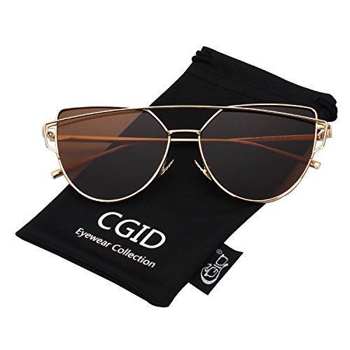 CGID Mode Polarisierte Katzenaugen Cat eye Sonnenbrille For Damen UV400 reflektierenden Spiegel Metall Rand Rahmen,Gold Braun (Metall Damen)