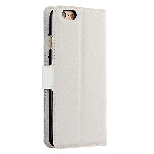 Phone case & Hülle Für iPhone 6 / 6s, Litchi Textur Horizontale Flip Leder Tasche mit Halter & Card Slots & Wallet ( Color : Black ) White