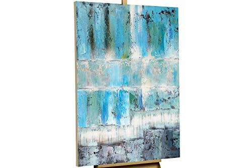 KunstLoft® Gemälde 'Tiefenentspannung' in 80x120cm | Leinwandbild handgemalt | Abstrakt Blau Türkis | Wandbild-Unikat | Acrylgemälde auf Leinwand für Schlafzimmer | Acrylbild auf Keilrahmen - Abstrakte Moderne Wand Skulptur