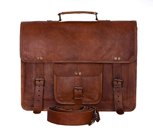Leidenschaft des Komal Leder Vintage 38,1cm Laptop Messenger Bag Zwei Innentaschen, für Damen und Herren