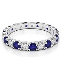 H-I AGDR-1121 Bague éternité en platine sertie d un saphir bleu ... 9d721f720734