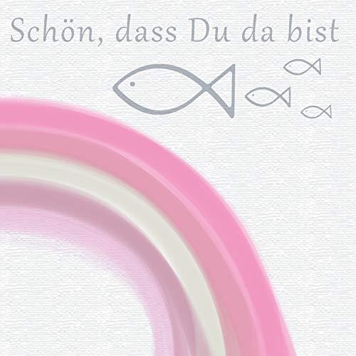 20 Servietten Schön dass du da bist mit Fische und Regenbogen rosa als Tischdeko zur Kommunion, Konfirmation und Taufe 33x33cm