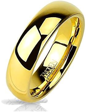 Paula & Fritz® Ring Tisten Titan Wolfram gold 6mm breit Hochglanz polierter Ring IP Gold verfügbare Ringgrößen...