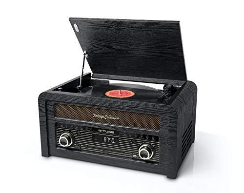 Oferta de Muse MT-115 - Microcadena de CD con tocadiscos y radio FM (30 presintonías) en diseño de armario de madera