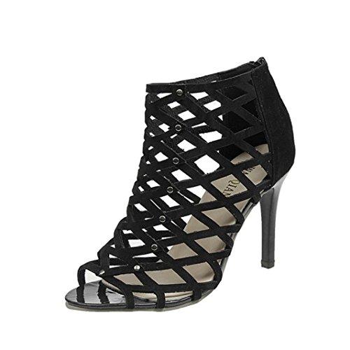 Toamen Zapatos de Tacón Alto Peep Toe de Moda Para Mujer Sandalias Romanas de Gladiador Rivet (38/Longitud del Pie:236-240mm, Negro)