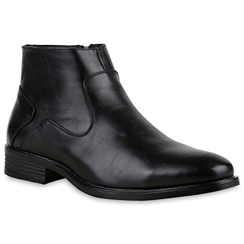 Stylische Herren Stiefeletten Chelsea Boots Business Leder-Optik Knöchelhohe Stiefel Schuhe 127366 Schwarz Autol 41 | Flandell