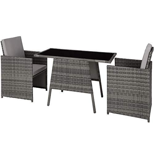 TecTake 800682 Polyrattan Sitzgruppe für 2 Personen, zusammenschiebbar, 2 Stühle & 1 Tisch mit Glasplatte, inkl. Sitz- und Rückenkissen - Diverse Farben - (Grau | Nr. 403097)