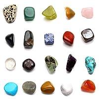 JOVIVI, set di pietre naturali per cristalloterapia, pietre dei chakra, set di 20diverse gemme, pietre tamburate. Set di pietre amorfe, gemme naturali tamburate.  Le pietre dei chakra comprendono pietre con 7 sfaccettature: ametista (chakra ...