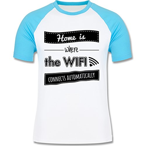 Shirtracer Statement Shirts - Home is Where The Wifi Connects Automatically - Herren Baseball Shirt Weiß/Türkis