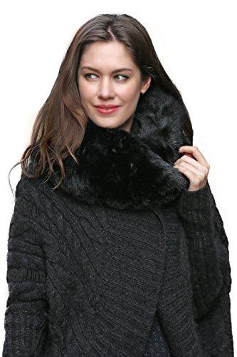 Favolosa sciarpa infinita scaldacollo Adelaqueen per donna, in finta pelliccia, nero (Pelliccia Bomber Giacca In Pelle)