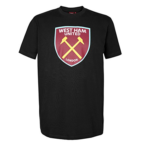 West Ham United FC - Camiseta Oficial para Hombre - con el Escudo del Club - Negro - XL