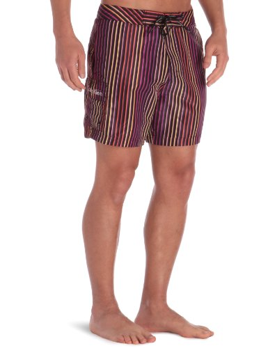 Calvin Klein Underwear - Medium Boardshort - Ck One Tubular Stripe - Homme Multicolore (Spectrum Orange)