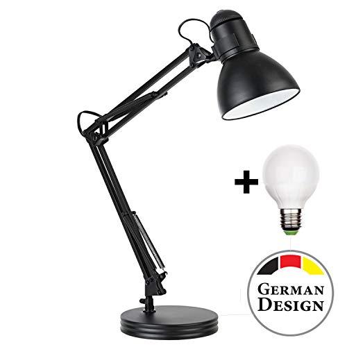 Retro Arbeitsplatzlampe Leselampe Schreibtischlampe Arbeitsplatz-leuchte Schreibtisch-Leuchte mit Gelenk-Arm aus Metall inkl. LED Glühbirne -