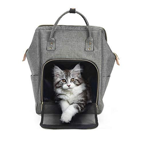 Petcomer Tragbare Rucksack für Hunde Welpe Katze Tragetasche für Reise Outdoor Haustiertragetasche mit Verstellbare Gepolsterte Schulterriemen und Masche an der Vorderseite (Grau)