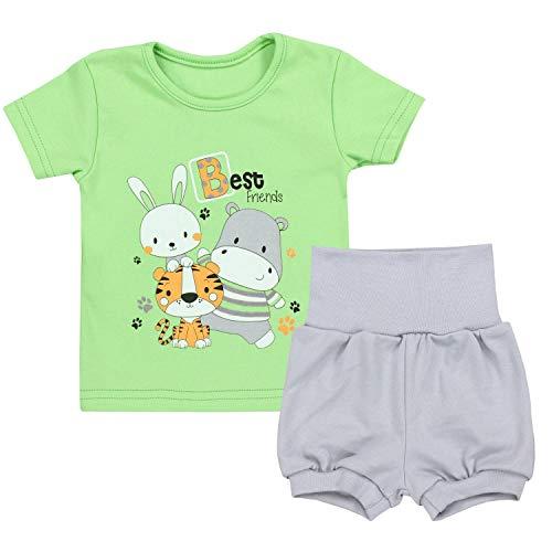 TupTam Baby Jungen Sommer Bekleidung T-Shirt Shorts Set, Farbe: Best Friends/Zartgrün/Grau, Größe: 92/98