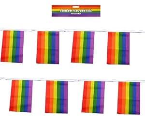 Drapeaux rectangulaire 33 36 cm-Drapeau arc-en-ciel Gay Pride Parade Banderole pour fête