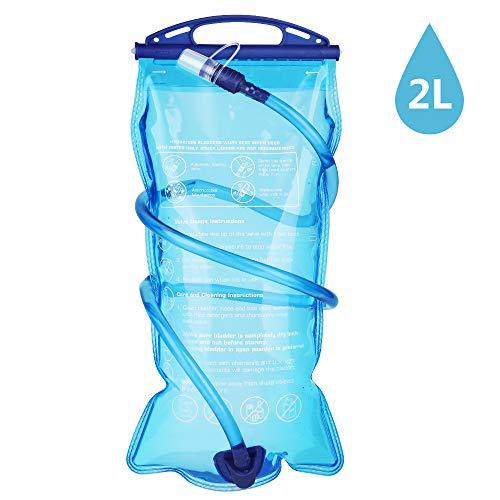 Hianjoo Sacca Idratazione 2 Litri, Serbatoio Acqua per Idratazione capacità vescica dell'Acqua Sistema di Idratazione per Ciclismo, Campeggio, Corsa - Blu