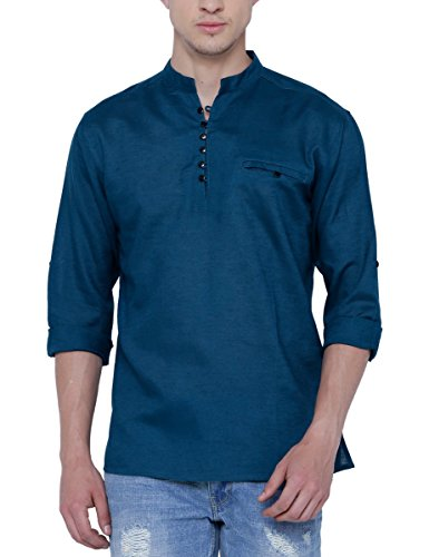 SVANIK Men's Mid Thigh Rayon Kurta (SVBK1828_Medium_Navy Blue)